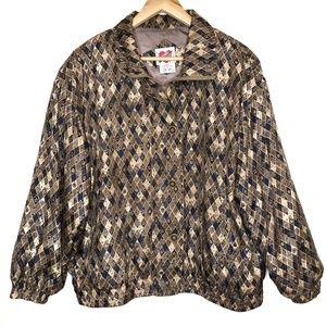 Vintage Karen Hart Silk Floral Bomber Jacket Large